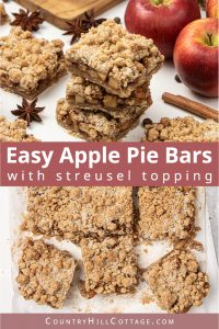 Vegan apple crisp bars with streusel topping are a healthy gluten-free apple recipe for fall! See how to make easy apple pie crisp bars with just 20 minutes prep. The apple pie bars recipe is super easy and quick, the filling has a lovely caramel note similar to canned pie fillings! Try apple crumble bars for breakfast, afternoon snack, tea time, or dessert. You'll just love apple streusel bars, great for a crowd. #applepie #applepiebars #applecrispbars #applecrumbsbars | countryhillcottage.com