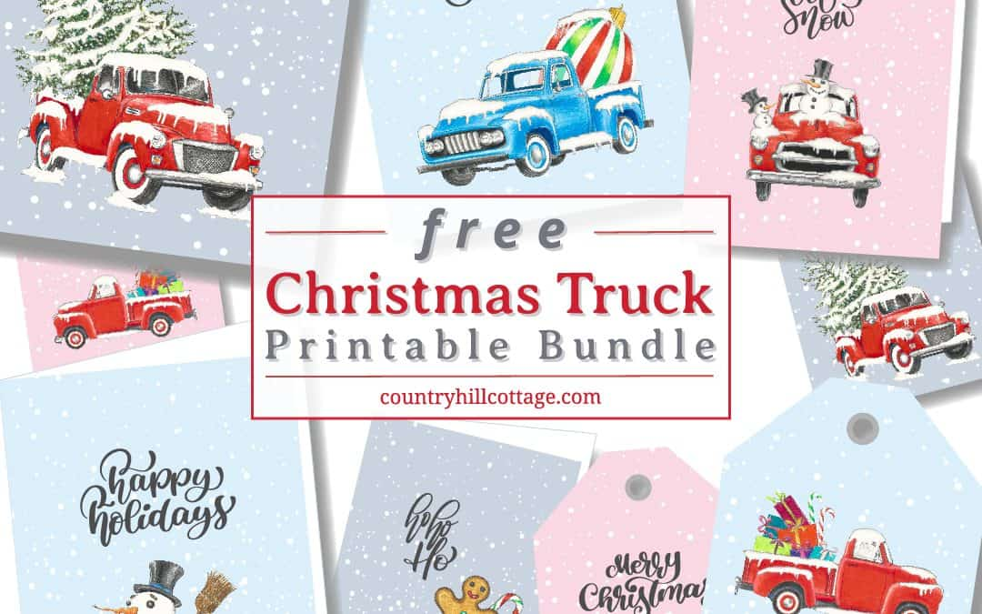 Christmas Truck Free Printable Wall Art, Greeting Cards & Gift Tags