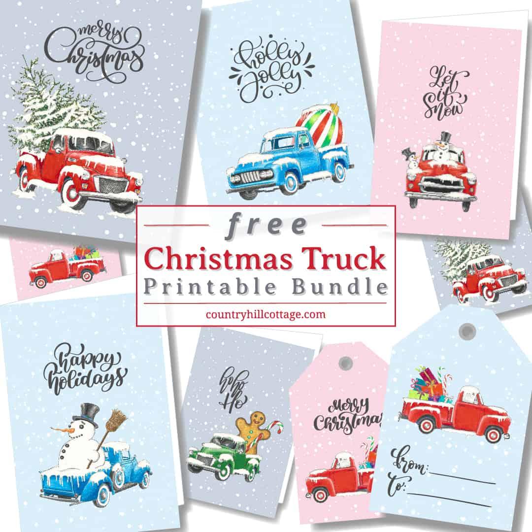 Christmas Truck Free Printable Wall Art Greeting Cards Gift Tags