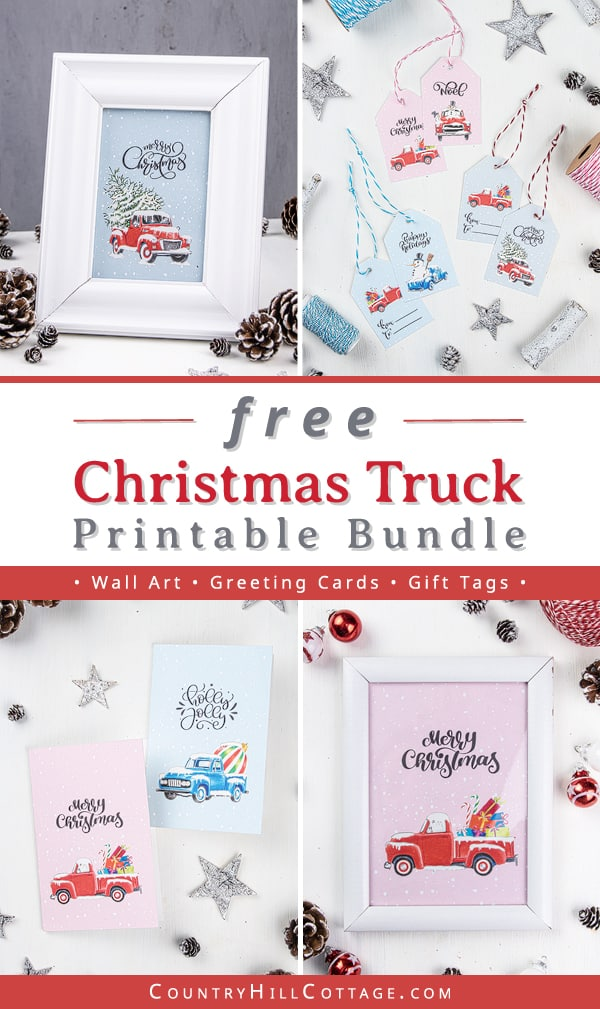Download FREE DIY Christmas truck printables, including wall art signs (8x10, 5x7, 4x6), greeting cards and gift tags. The pictures are made from a painting and drawing and show a vintage red Christmas truck with trees (cute Chevy), gifts and ornaments before a snow background. Holiday truck illustration and quotes for gift wrapping, door hanger, ornament, craft, art, rustic farmhouse decorations and more ideas. #printable #Christmasprinatbles #Christmastruck #decor | countryhillcottage.com