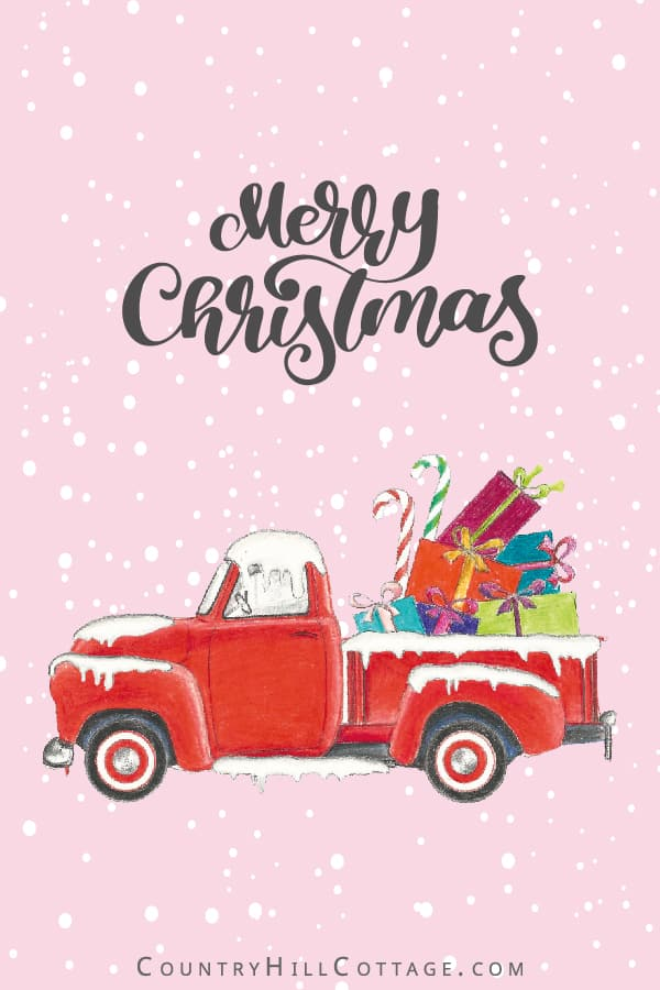 Cute red vintage Christmas truck with presents! Download FREE DIY printables, including wall art signs (8x10, 5x7, 4x6), greeting cards and gift tags. The pictures are made from a painting and draw-ing and show a vintage Chevy, gifts and ornaments before a snow background. Merry Christmas holi-day truck illustration and quotes for gift wrapping, door hanger, ornament, rustic farmhouse deco-rations and more ideas. #printable #Christmasprinatbles #Christmastruck #decor | countryhillcottage.com