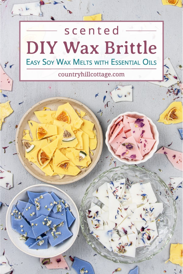 See how to make pretty DIY wax brittle! Homemade scented soy wax bark is an natural recipe to make your house smell amazing and provide relaxation. Learn the best wax melt hacks, different essential oil blends and designs, packaging ideas, tips for reuse, removal from the burner/warmer and storage to make them last longer. This easy cute wax melts recipe is quick craft project and an easy handmade gift idea. #waxbrittle #waxmelts #essentialoils #homefragrance #soywax   countryhillcottage.com