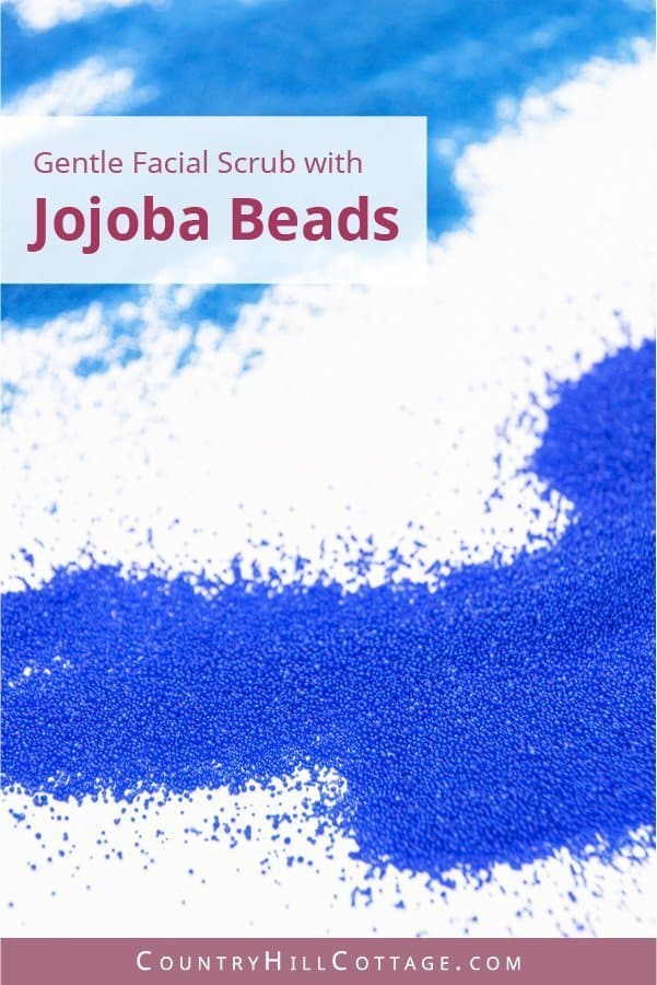 What are jojoba beads and how to use them in skin care and an easy jojoba beads scrub recipe. The exfoliating beads are biodegradable, and the smooth round shape qualifies these natural scrub beads for gentle face polish recipes and homemade exfoliating scrubs. The tiny exfoliating beads are made from the liquid wax of the jojoba shrub. #jojobabeads #greenbeauty #naturalskincare #exfoliation #facescrub #cleanbeauty | countryhillcottage.com