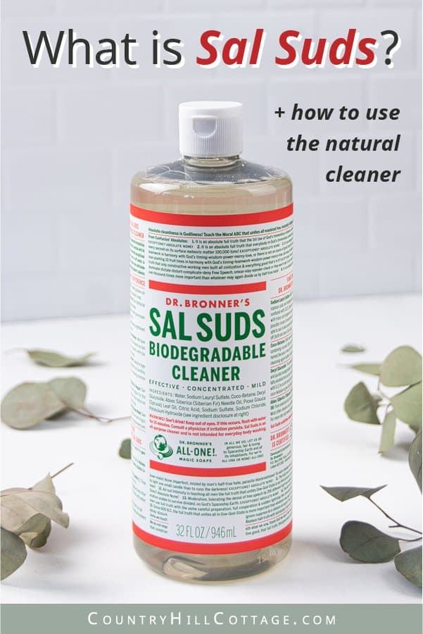 What is Sal Suds? Learn all about this non-toxic, eco-friendly multi-purpose household cleaner! Find out about the uses of Dr Bronner's Sal Suds for green cleaning, and the difference between castile soap vs Sal Suds. This post also shows how to make 4 easy recipes for natural cleaning products, including a homemade all-purpose spray, DIY glass cleaner, goo remover and carpet cleaner. Can also be used for dish soap, laundry and dishwasher detergent. #cleaner #cleaning | countryhillcottage.com