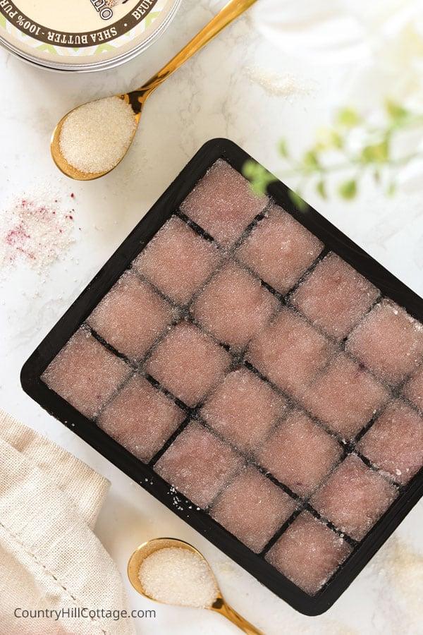 Sugar scrub cubes in silicone mold