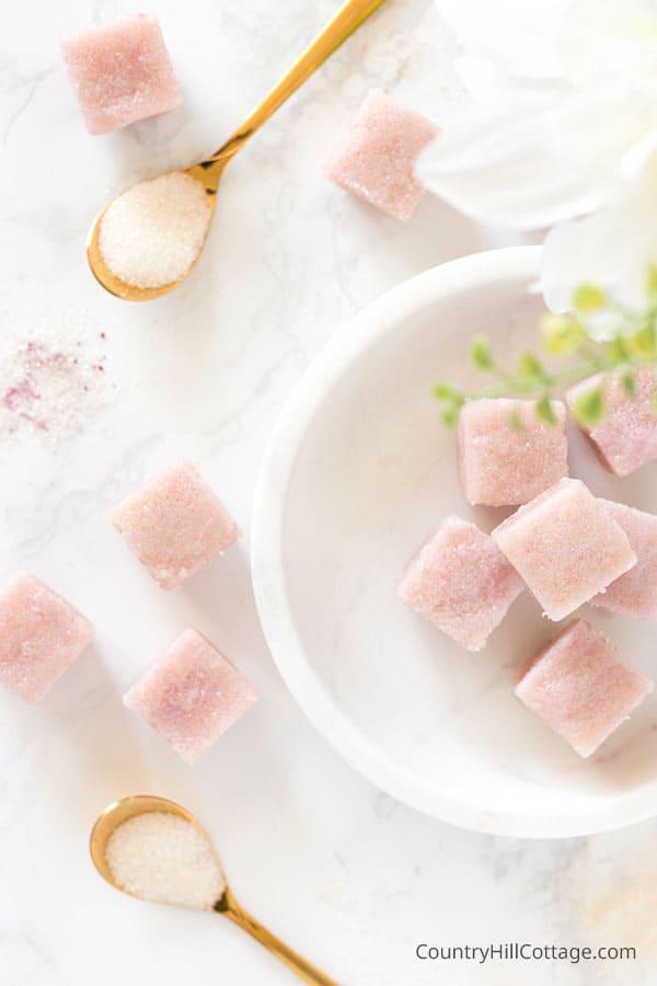 DIY cherry soda sugar scrub cubes