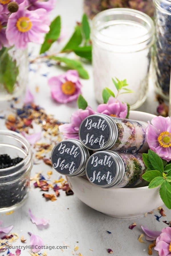 Free Printable Labels for Bath Salt Test Tubes