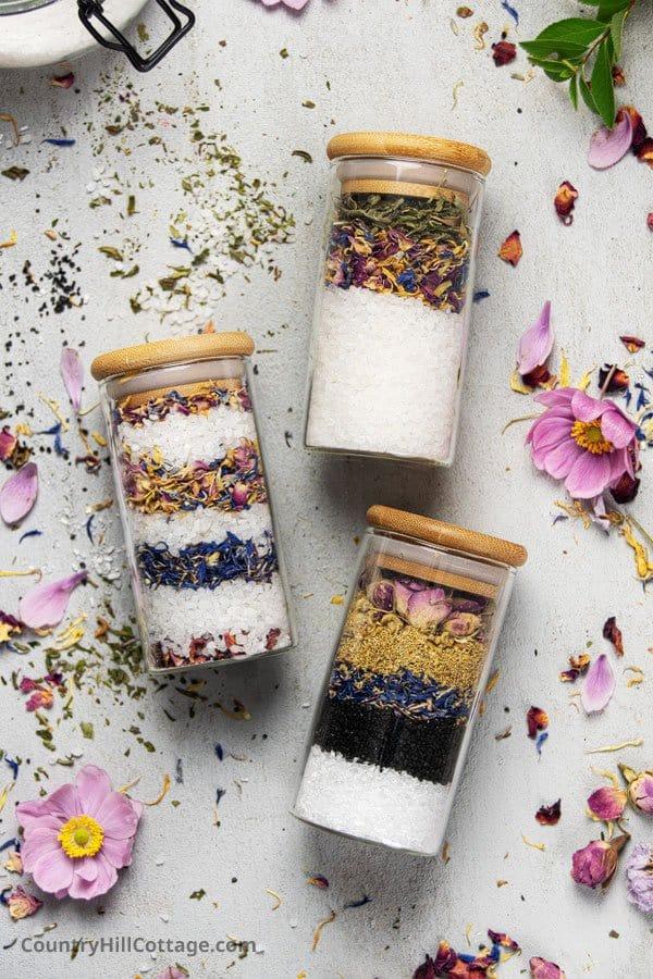 DIY Bath Salt Gift Set in Jars