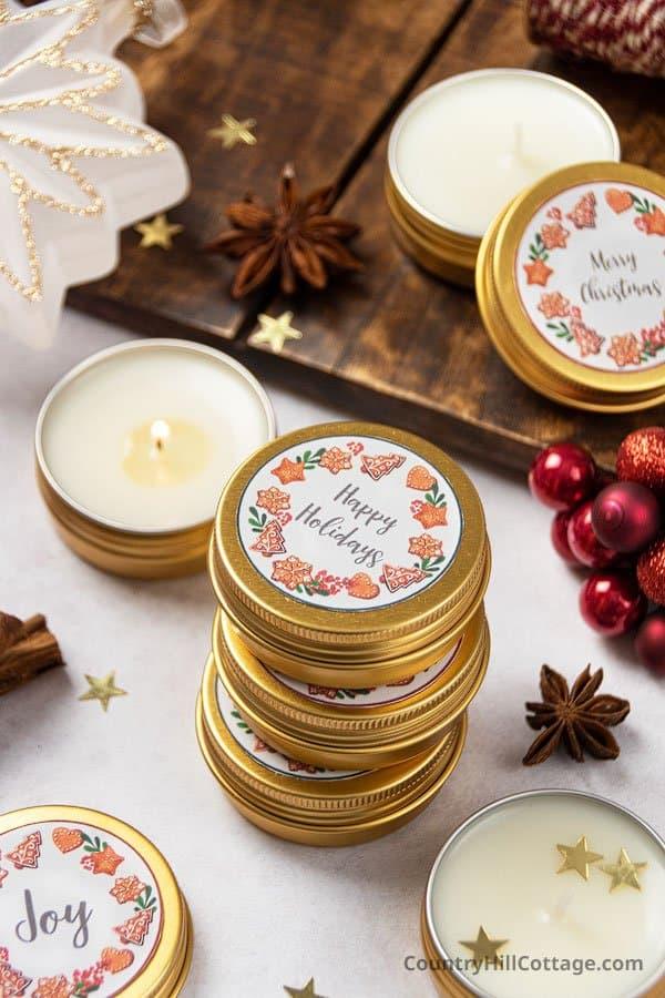 Christmas tea lights gift with printable labels