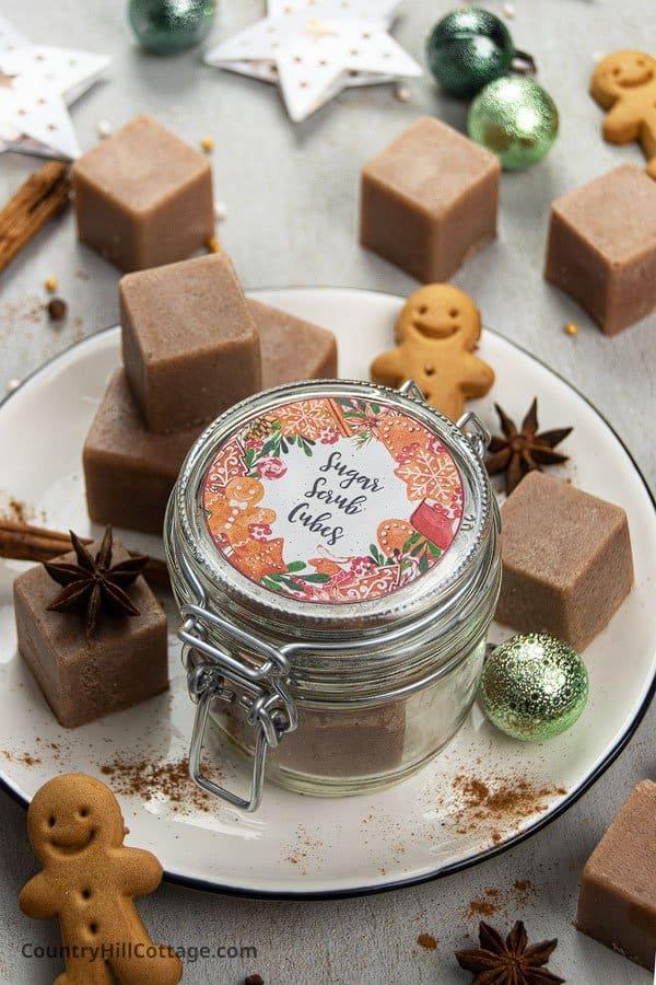 Sugar scrub cubes with essential oils