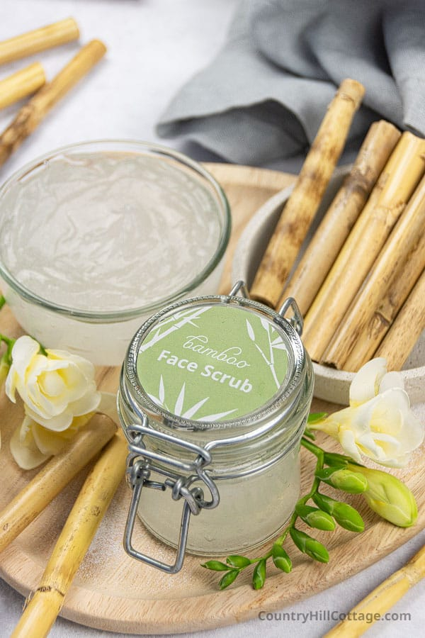 Jar of face scrub with printable label