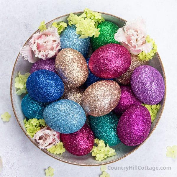 DIY Glitter Easter Eggs