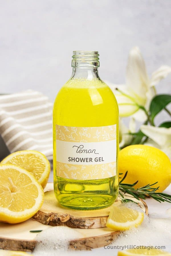 DIY lemon shower gel