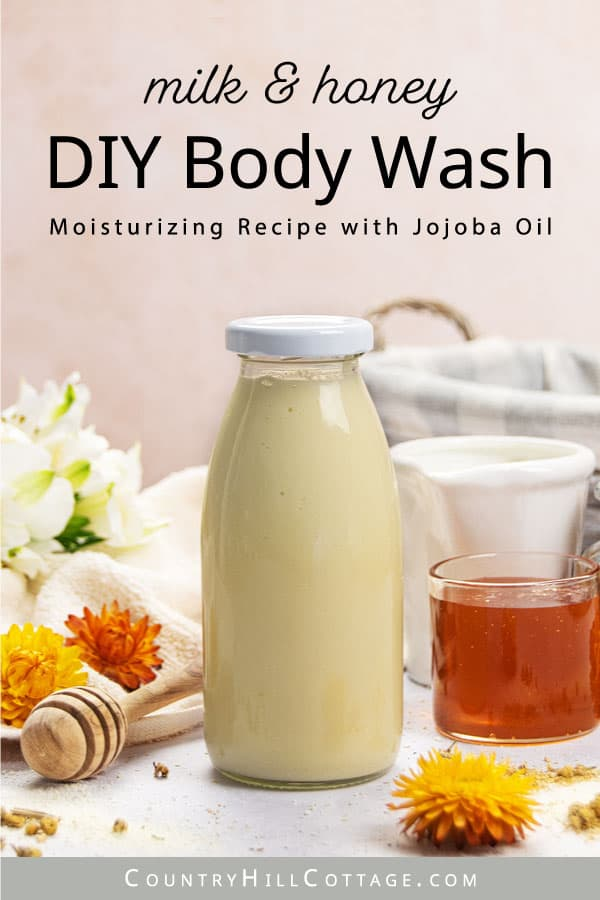 creamy body wash in a glass bottle