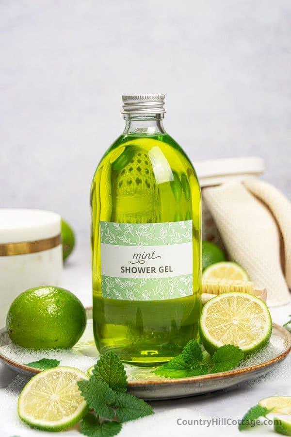 Homemade mint shower gel