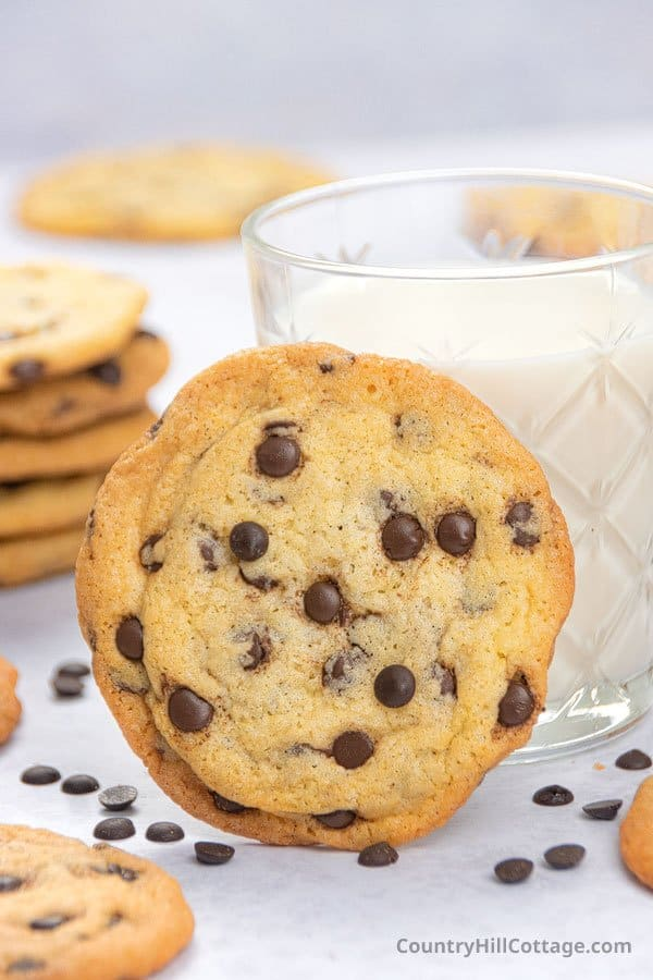 chocolate chip cookies with glass of milk