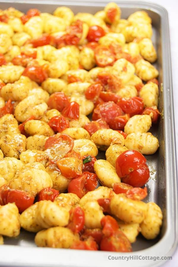 roasted gnocchi on a baking sheet