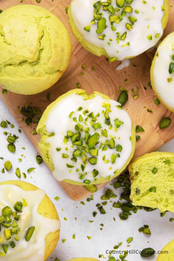 iced pistachio muffins