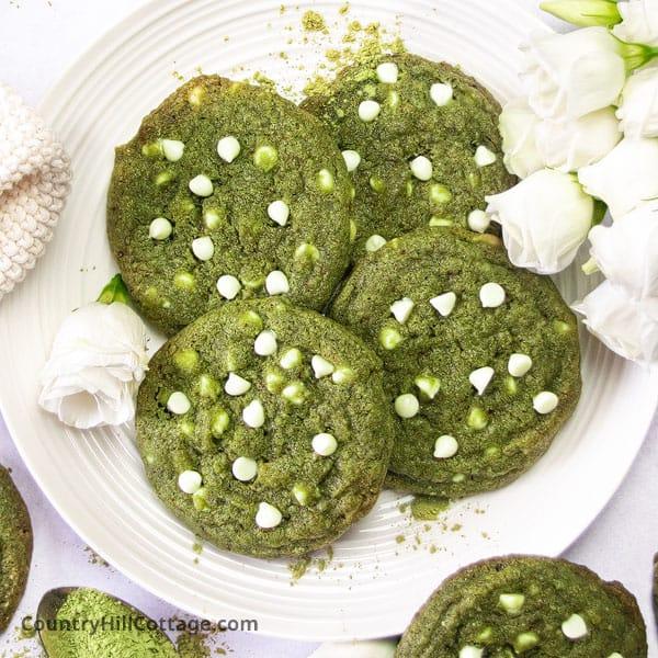 Matcha Chocolate Chip Cookies {Green Tea White Chocolate Cookies}