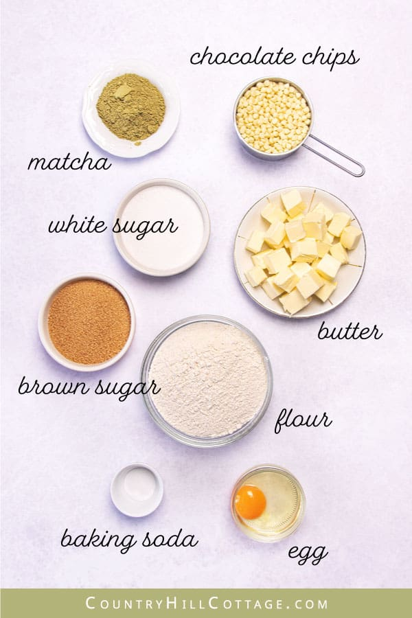 ingredients for matcha white chocolate chip cookies