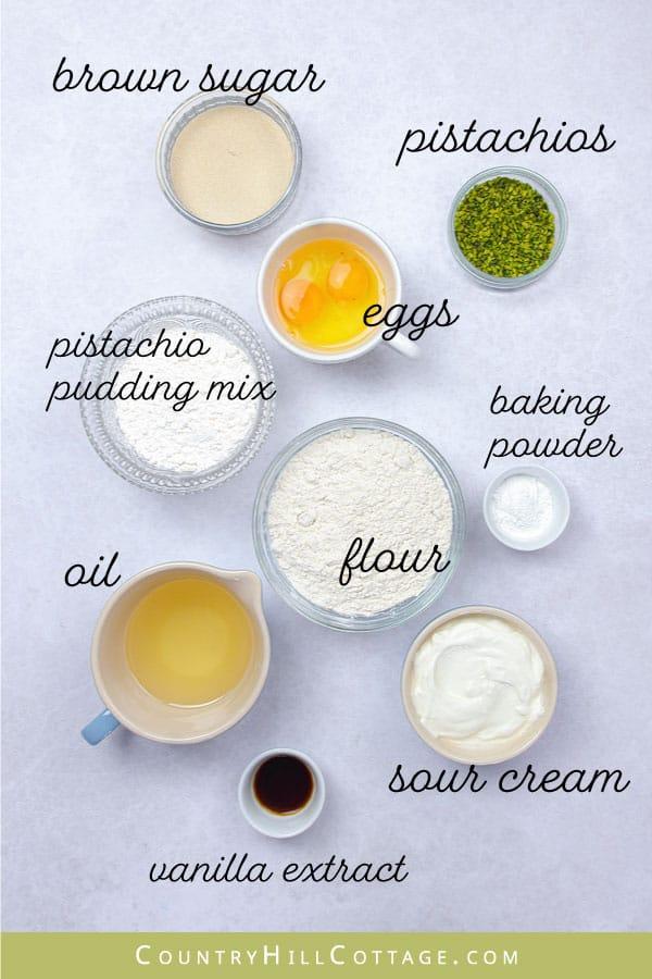 pistachio muffin ingredients