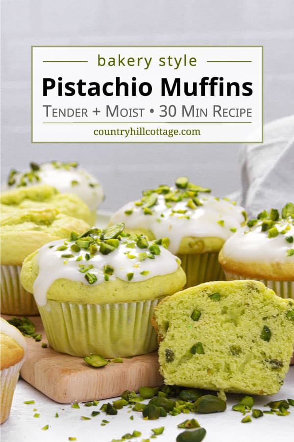 pistachio muffins on a wood board