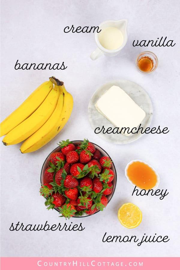 strawberry banana cheesecake salad ingredients