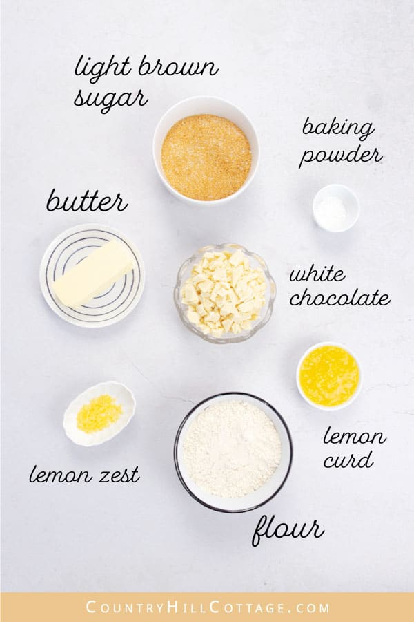ingredients for lemon chocolate chip cookies