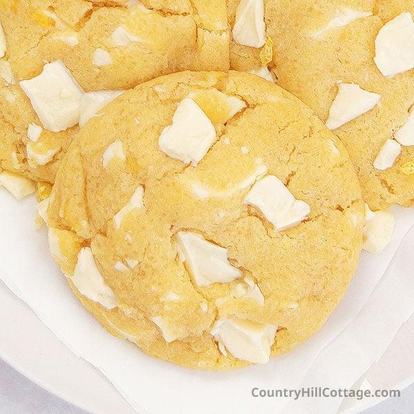 Lemon Chocolate Chip Cookies {Lemon White Chocolate Cookies}