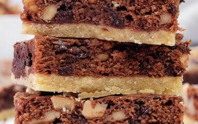 Shortbread Brownies {Chocolate Chip Walnut Brownies}