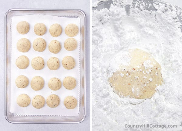 cover cookies in powdered sugar