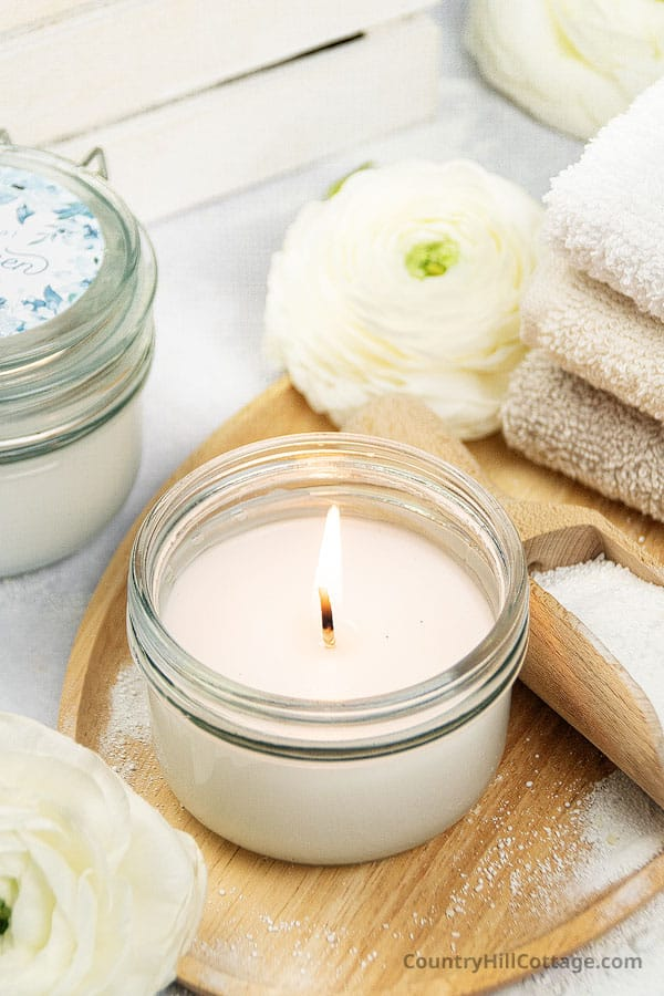 homemade clean cotton essential oil candle