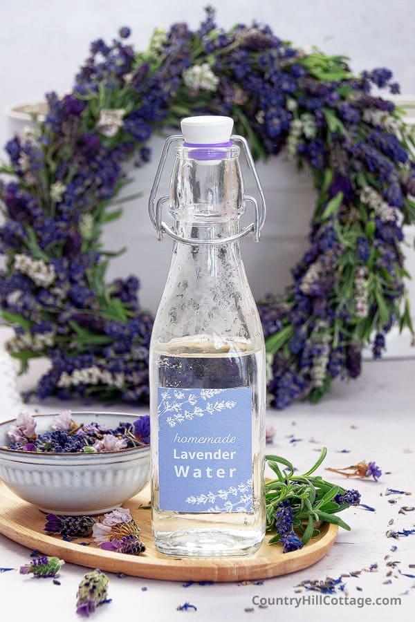 bottle of DIY lavender water