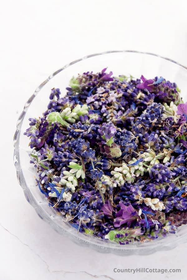 fresh lavender in a glass bowl