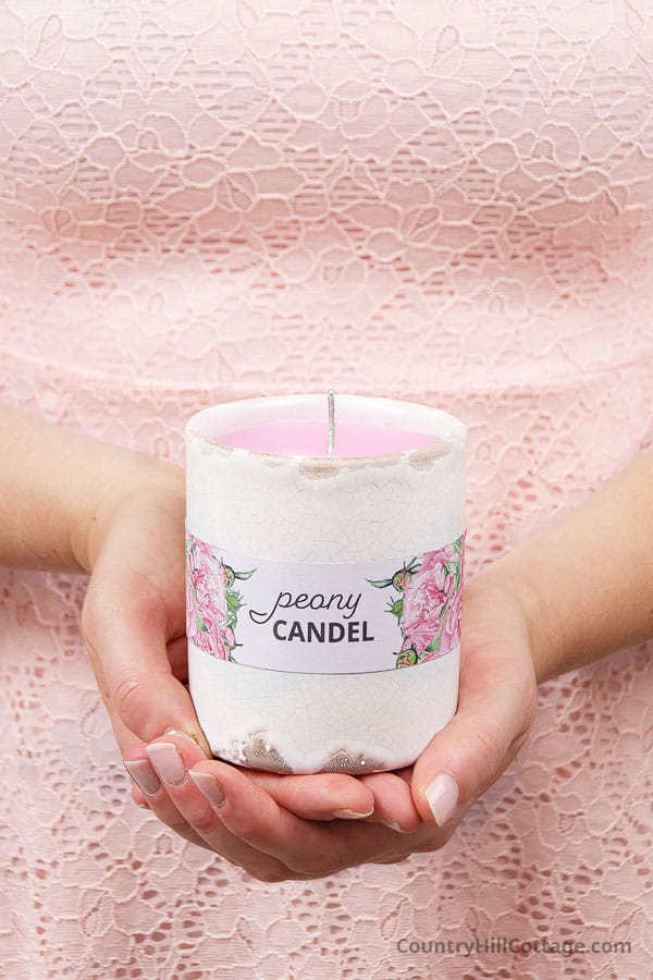 homemade peony candle