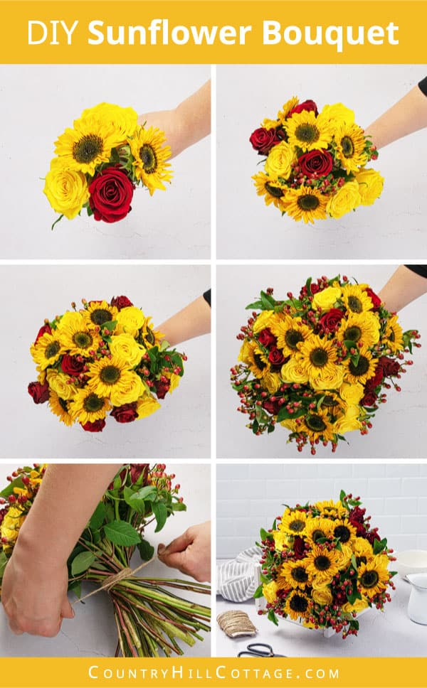 how to make a rose and sunflower bouquet