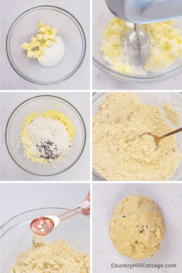 photo collage showing how to make lavender cookie dough