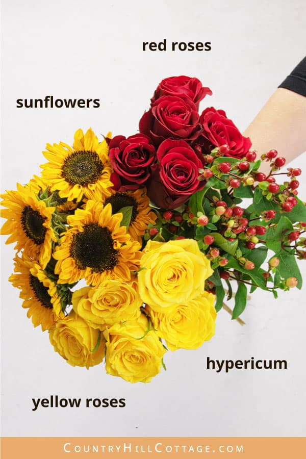 materials for sunflower rose bouquet