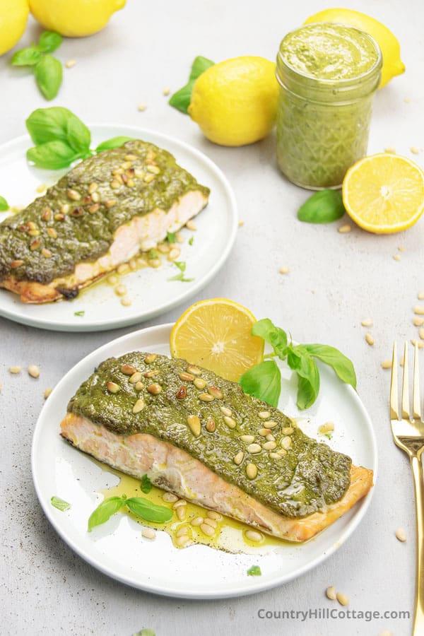 baked basil pesto salmon