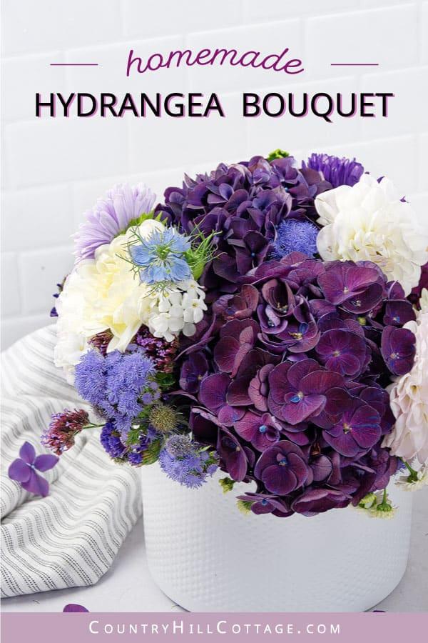 bouquet of purple hydrangeas