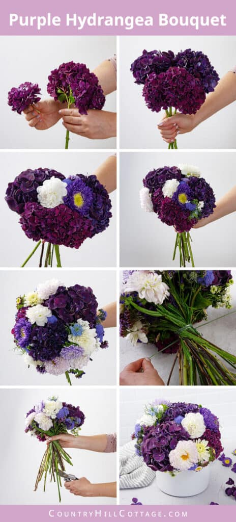 how to a make purple hydrangea bouquet
