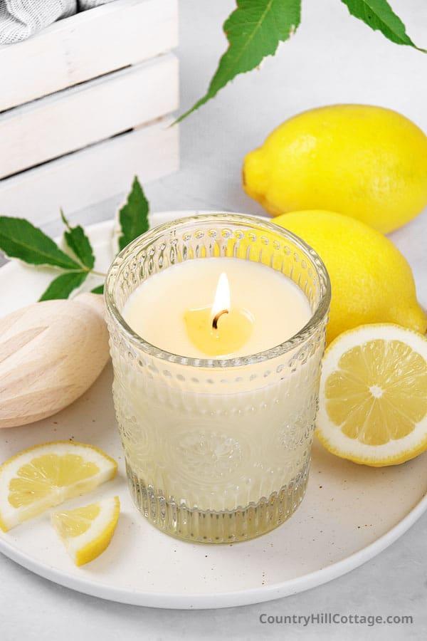 lemon essential oil candle