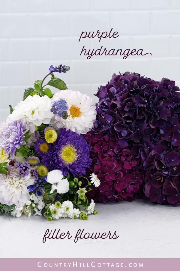 materials for purple hydrangea bouquet