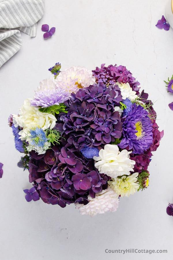 purple hydrangea wedding bouquet