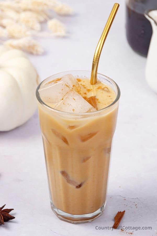 homemade iced pumpkin spice latte